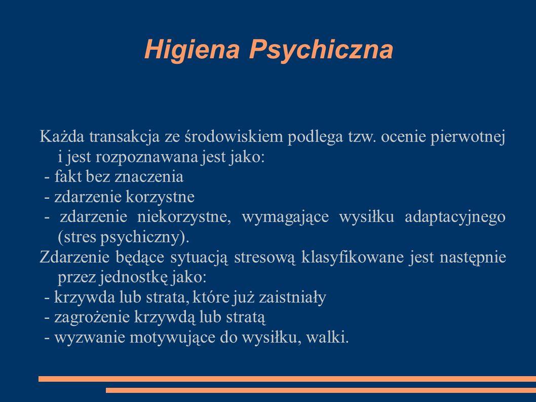 Higiena Psychiczna Każda transakcja ze środowiskiem podlega tzw. ocenie pierwotnej i jest rozpoznawana jest jako: - fakt bez znaczenia - zdarzenie kor