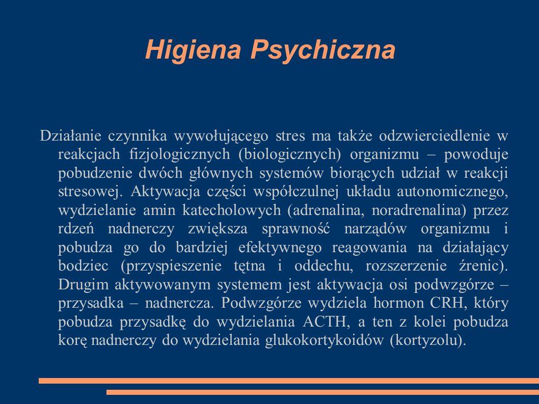 Higiena Psychiczna Działanie czynnika wywołującego stres ma także odzwierciedlenie w reakcjach fizjologicznych (biologicznych) organizmu – powoduje pobudzenie dwóch głównych systemów biorących udział w reakcji stresowej.