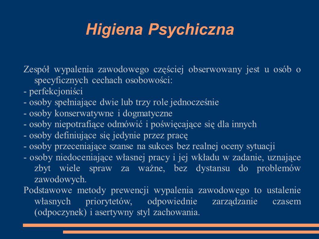 Higiena Psychiczna Zespół wypalenia zawodowego częściej obserwowany jest u osób o specyficznych cechach osobowości: - perfekcjoniści - osoby spełniają