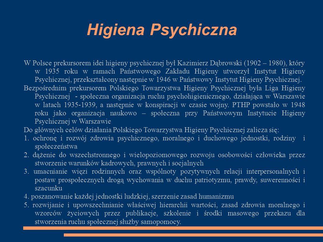 Higiena Psychiczna W Polsce prekursorem idei higieny psychicznej był Kazimierz Dąbrowski (1902 – 1980), który w 1935 roku w ramach Państwowego Zakładu Higieny utworzył Instytut Higieny Psychicznej, przekształcony następnie w 1946 w Państwowy Instytut Higieny Psychicznej.