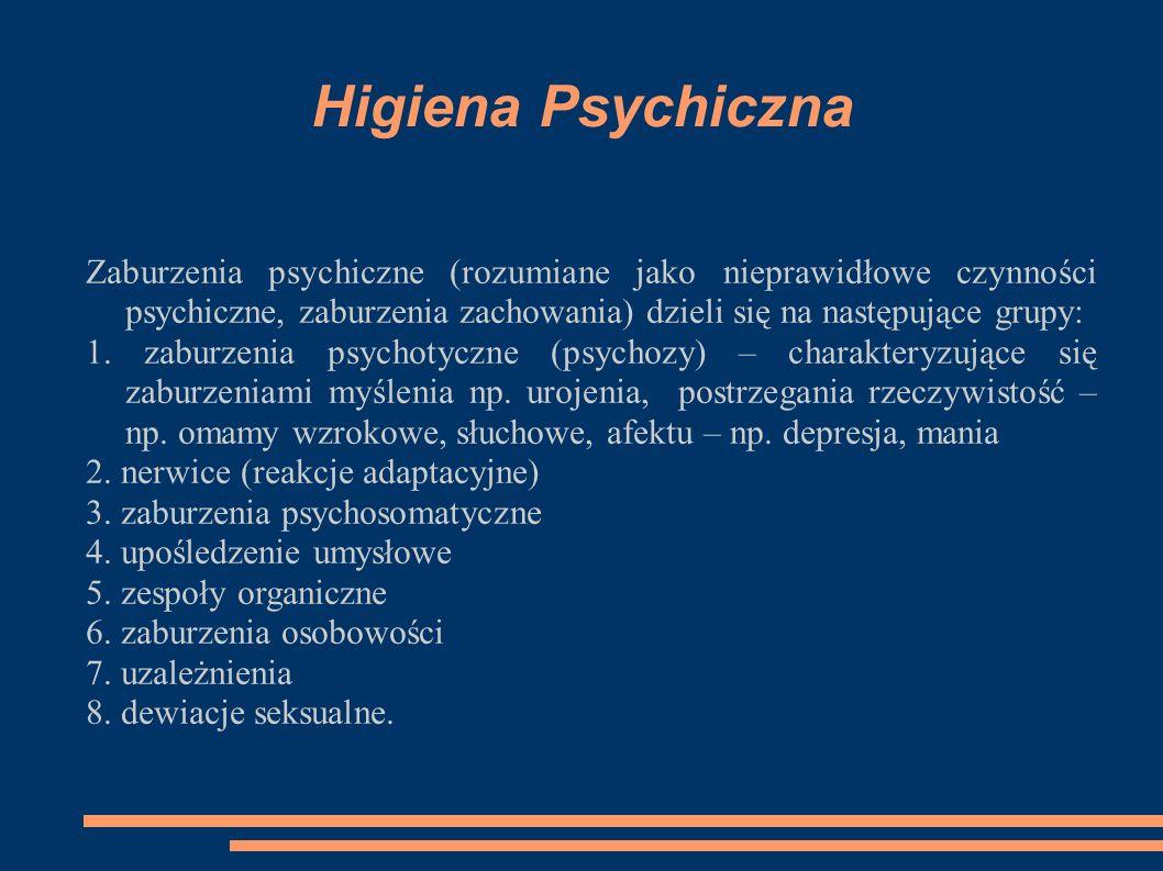 Higiena Psychiczna Zaburzenia psychiczne (rozumiane jako nieprawidłowe czynności psychiczne, zaburzenia zachowania) dzieli się na następujące grupy: 1