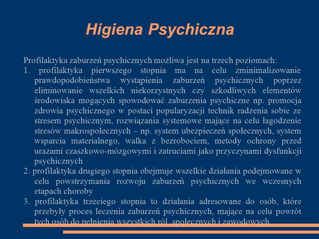 Higiena Psychiczna Profilaktyka zaburzeń psychicznych możliwa jest na trzech poziomach: 1. profilaktyka pierwszego stopnia ma na celu zminimalizowanie