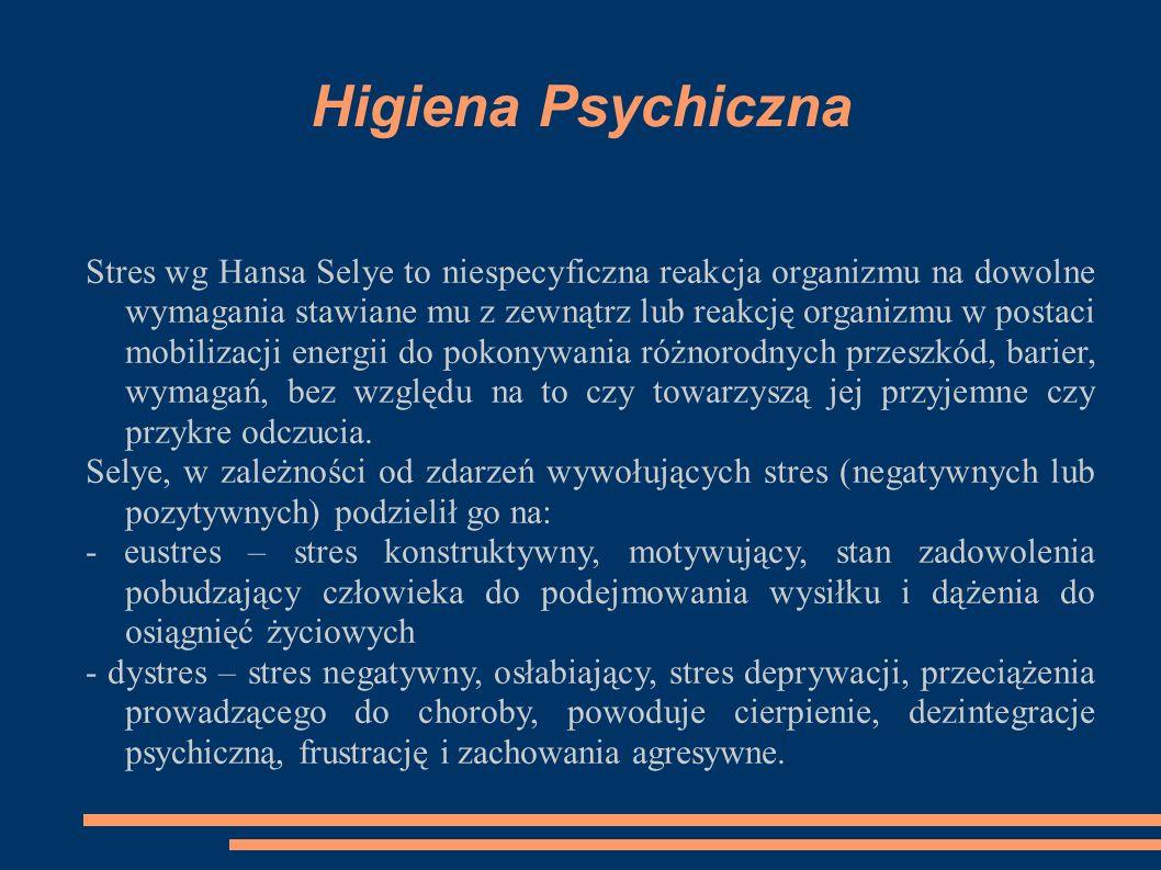 Higiena Psychiczna Stres wg Hansa Selye to niespecyficzna reakcja organizmu na dowolne wymagania stawiane mu z zewnątrz lub reakcję organizmu w postaci mobilizacji energii do pokonywania różnorodnych przeszkód, barier, wymagań, bez względu na to czy towarzyszą jej przyjemne czy przykre odczucia.