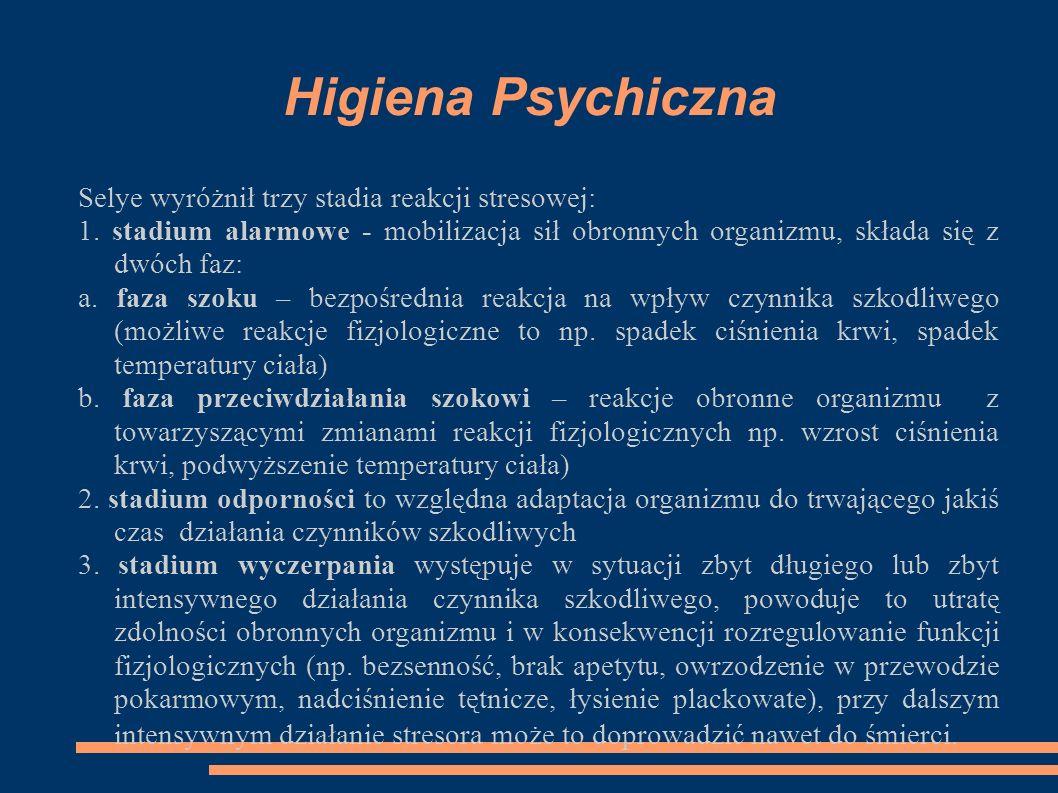 Higiena Psychiczna Selye wyróżnił trzy stadia reakcji stresowej: 1. stadium alarmowe - mobilizacja sił obronnych organizmu, składa się z dwóch faz: a.
