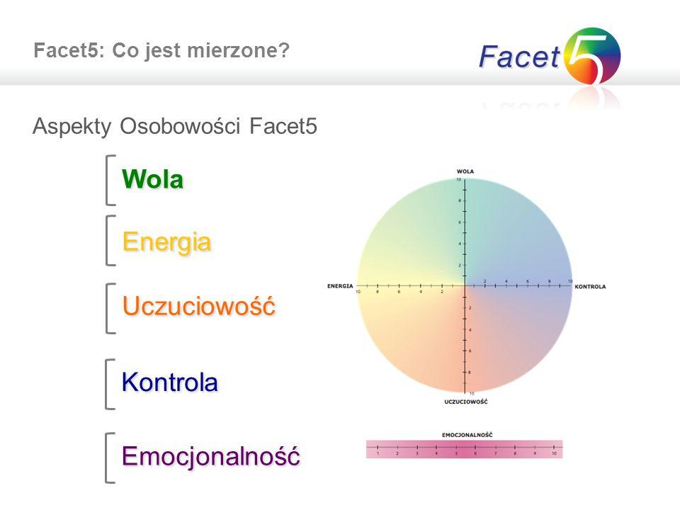 Facet5: Co jest mierzone? Aspekty Osobowości Facet5 Wola Uczuciowość Kontrola Emocjonalność Energia