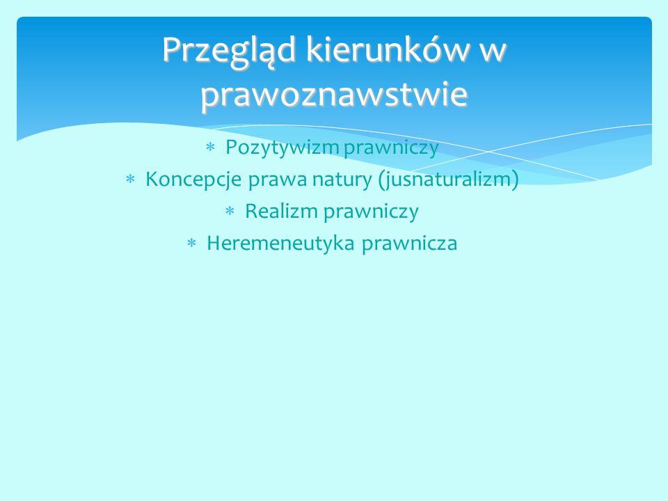  Pozytywizm prawniczy  Koncepcje prawa natury (jusnaturalizm)  Realizm prawniczy  Heremeneutyka prawnicza Przegląd kierunków w prawoznawstwie