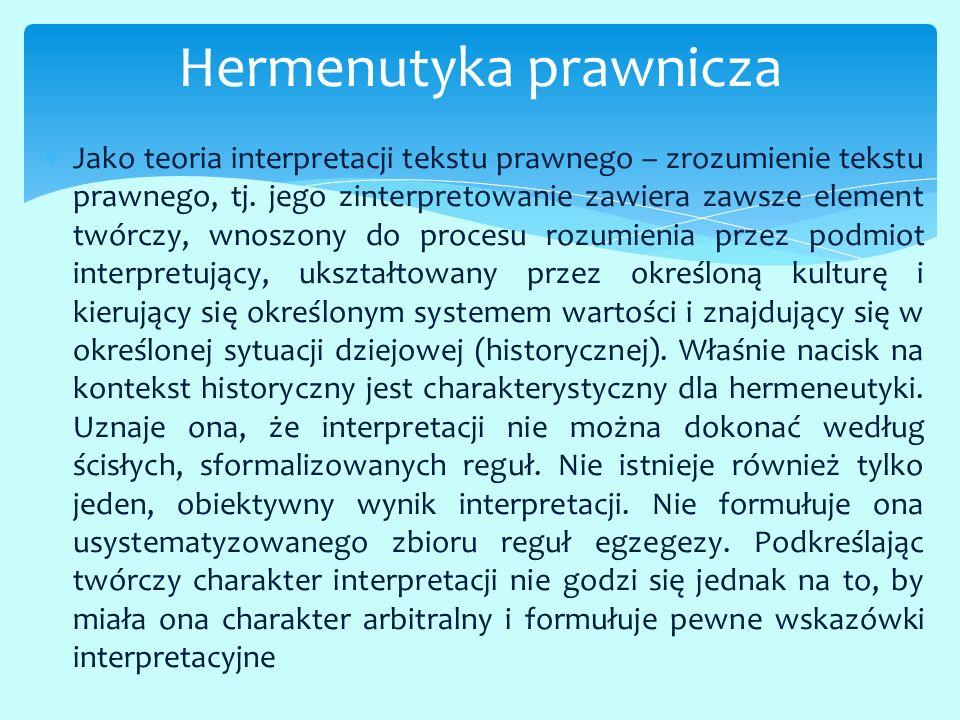  Jako teoria interpretacji tekstu prawnego – zrozumienie tekstu prawnego, tj. jego zinterpretowanie zawiera zawsze element twórczy, wnoszony do proce
