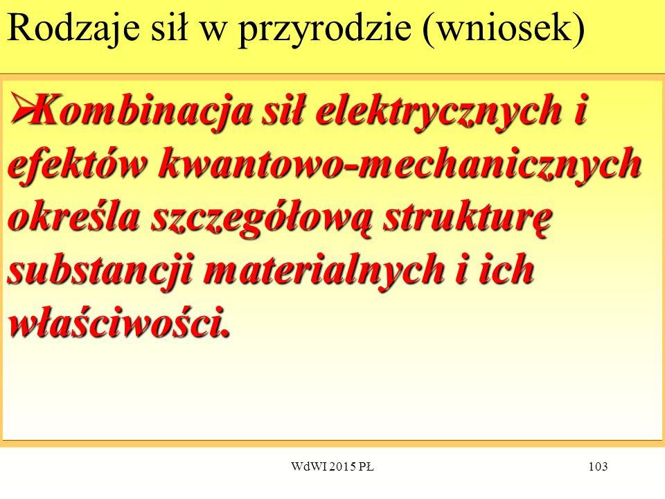 103 Rodzaje sił w przyrodzie (wniosek)  Kombinacja  Kombinacja sił elektrycznych i efektów kwantowo-mechanicznych określa szczegółową strukturę subs