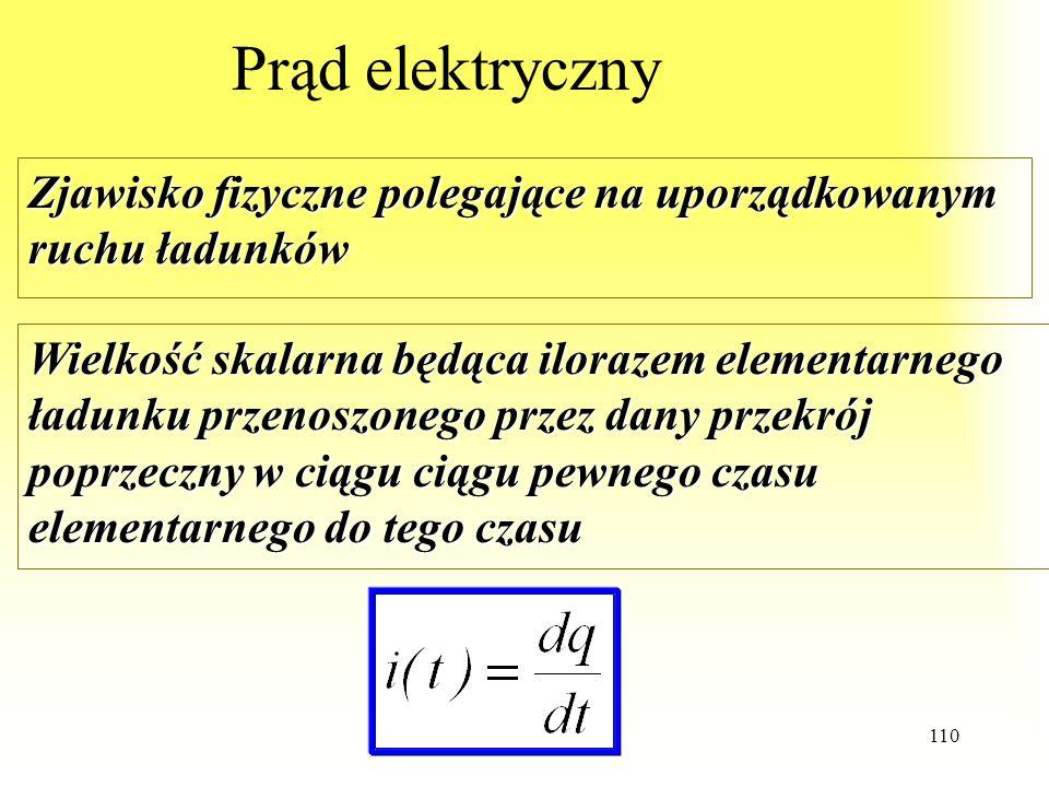 110 Prąd elektryczny Zjawisko fizyczne polegające na uporządkowanym ruchu ładunków Wielkość skalarna będąca ilorazem elementarnego ładunku przenoszone