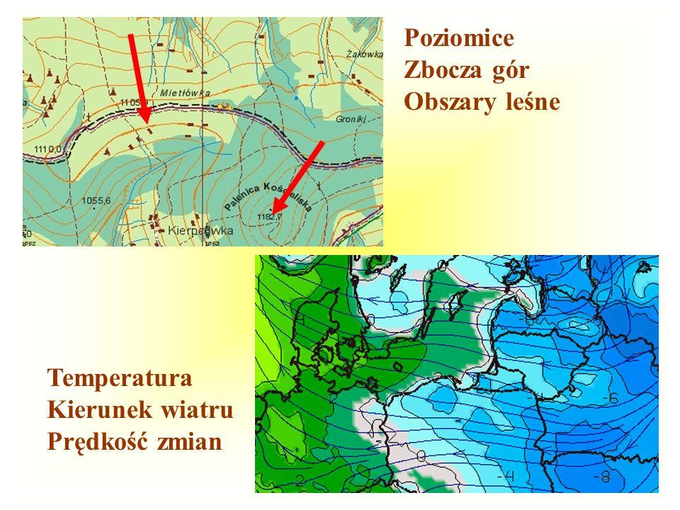 112 Poziomice Zbocza gór Obszary leśne Temperatura Kierunek wiatru Prędkość zmian