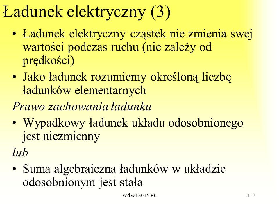 117 Ładunek elektryczny (3) Ładunek elektryczny cząstek nie zmienia swej wartości podczas ruchu (nie zależy od prędkości) Jako ładunek rozumiemy okreś
