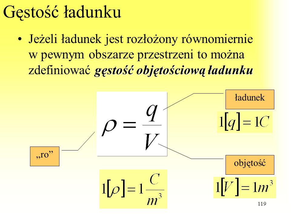 119 Gęstość ładunku gęstość objętościową ładunkuJeżeli ładunek jest rozłożony równomiernie w pewnym obszarze przestrzeni to można zdefiniować gęstość