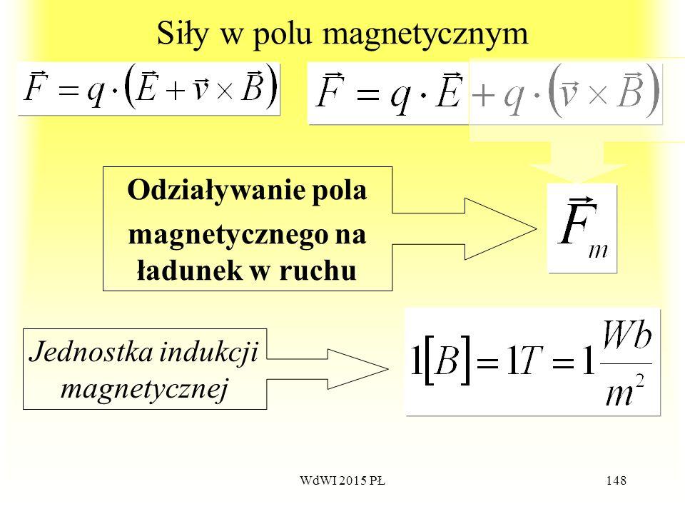 148 Siły w polu magnetycznym Odziaływanie pola magnetycznego na ładunek w ruchu Jednostka indukcji magnetycznej WdWI 2015 PŁ