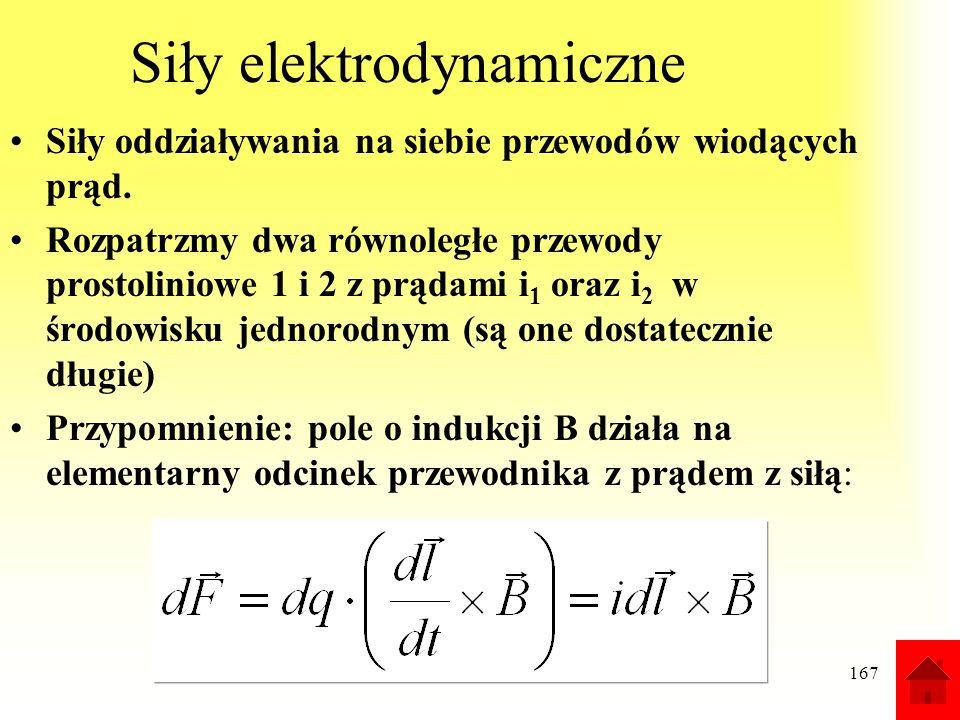 167 Siły elektrodynamiczne Siły oddziaływania na siebie przewodów wiodących prąd. Rozpatrzmy dwa równoległe przewody prostoliniowe 1 i 2 z prądami i 1