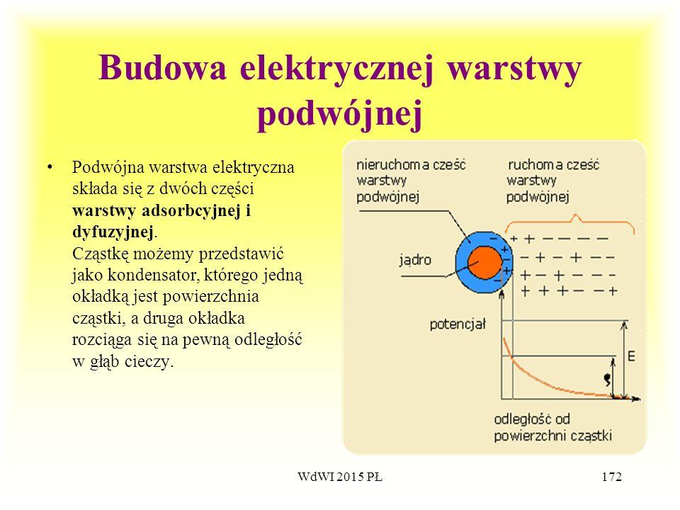 172 Budowa elektrycznej warstwy podwójnej Podwójna warstwa elektryczna składa się z dwóch części warstwy adsorbcyjnej i dyfuzyjnej. Cząstkę możemy prz