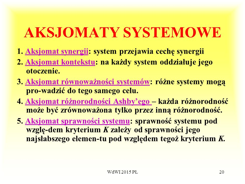 20 AKSJOMATY SYSTEMOWE 1. Aksjomat synergii: system przejawia cechę synergiiAksjomat synergii 2. Aksjomat kontekstu: na każdy system oddziałuje jego o