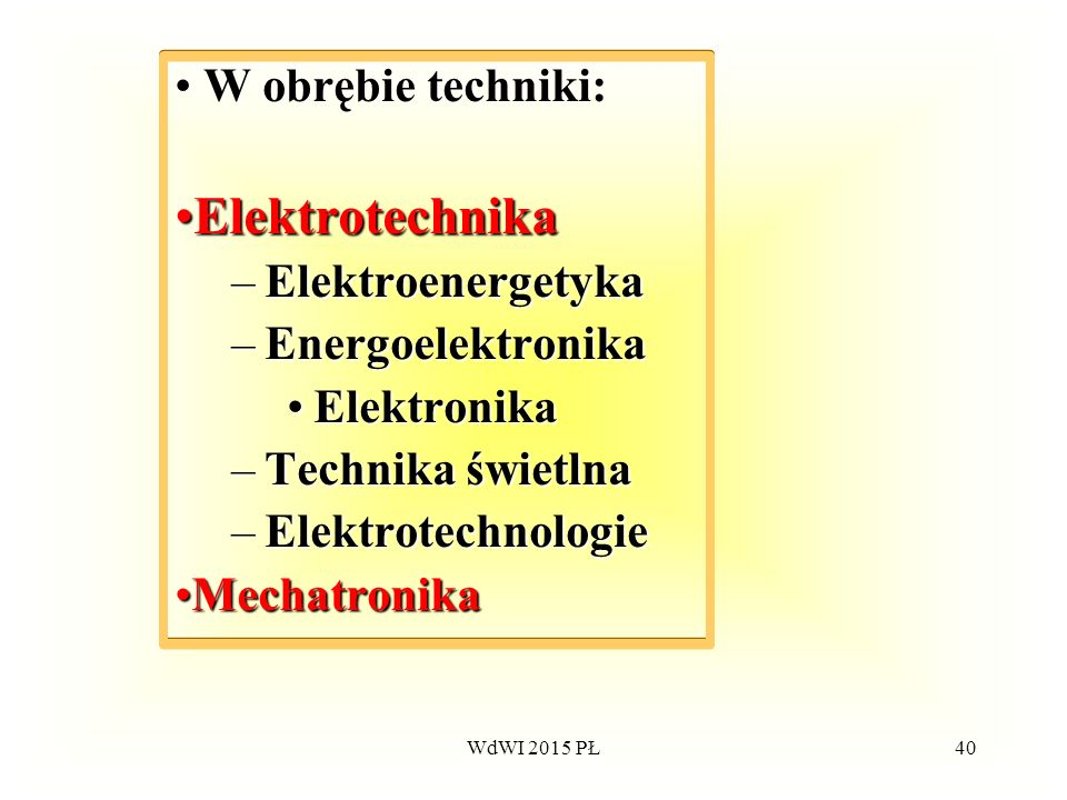 40 W obrębie techniki: ElektrotechnikaElektrotechnika –Elektroenergetyka –Energoelektronika ElektronikaElektronika –Technika –Technika świetlna –Elekt