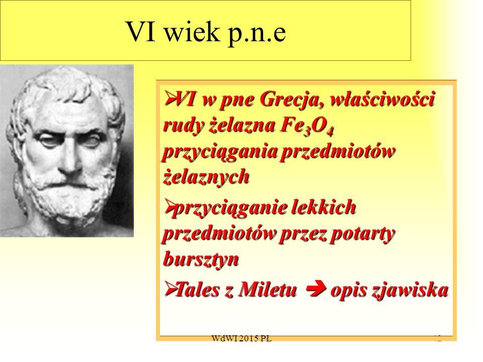 42 VI wiek p.n.e  VI  VI w pne Grecja, właściwości rudy żelazna Fe 3 O 4 przyciągania przedmiotów żelaznych  przyciąganie  przyciąganie lekkich pr