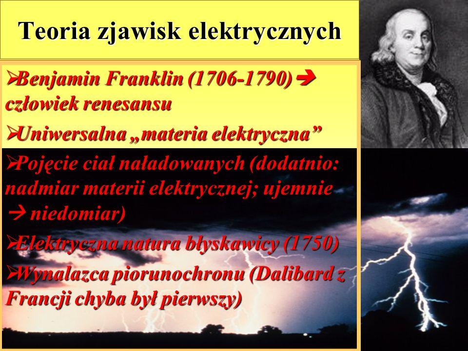 """46 Teoria zjawisk elektrycznych  Benjamin  Benjamin Franklin (1706-1790)  człowiek renesansu  Uniwersalna  Uniwersalna """"materia elektryczna""""  Po"""