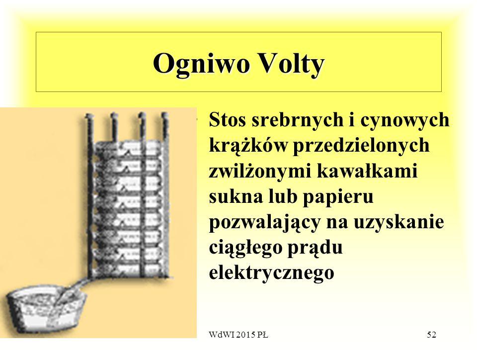 52 Ogniwo Volty Stos srebrnych i cynowych krążków przedzielonych zwilżonymi kawałkami sukna lub papieru pozwalający na uzyskanie ciągłego prądu elektr