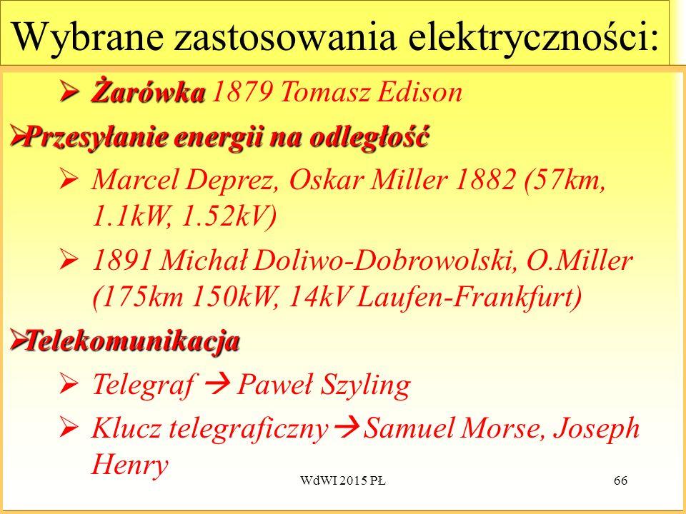 66 Wybrane zastosowania elektryczności:  Żarówka  Żarówka 1879 Tomasz Edison  Przesyłanie energii na odległość  Marcel Deprez, Oskar Miller 1882 (