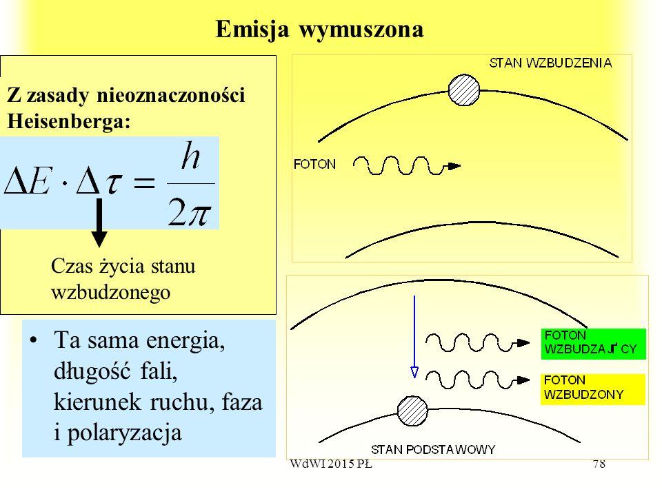 78 Emisja wymuszona Ta sama energia, długość fali, kierunek ruchu, faza i polaryzacja Z zasady nieoznaczoności Heisenberga: Czas życia stanu wzbudzone