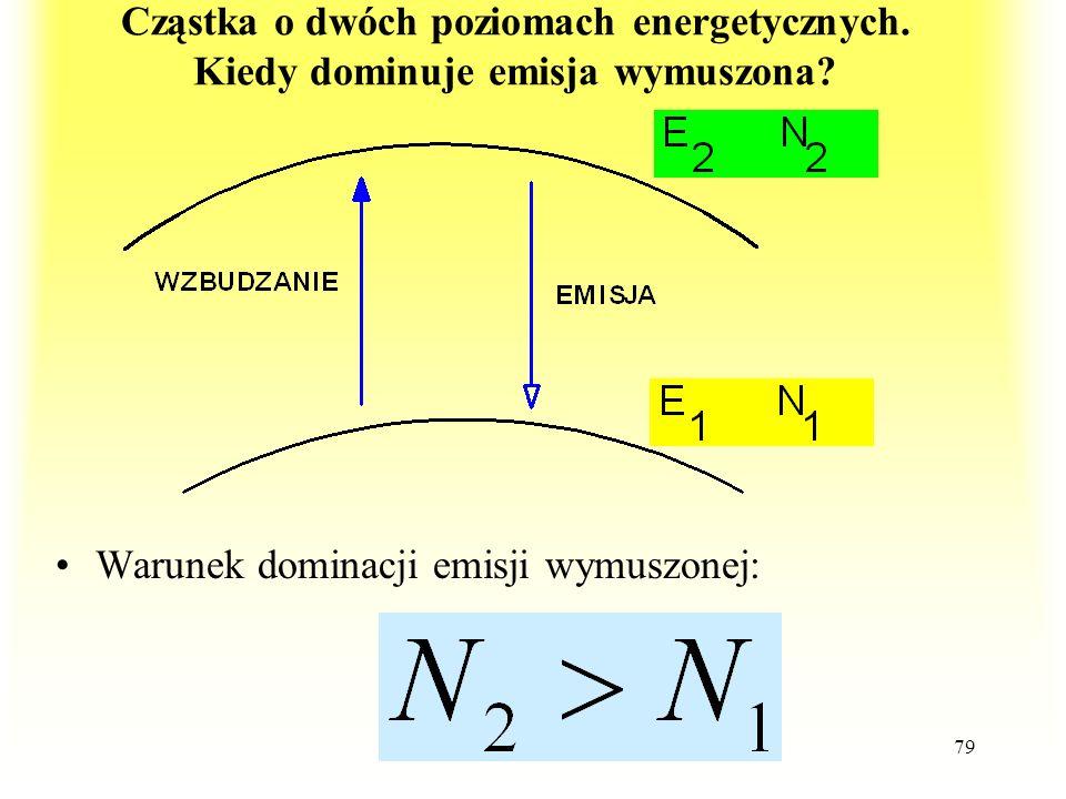 79 Cząstka o dwóch poziomach energetycznych. Kiedy dominuje emisja wymuszona? Warunek dominacji emisji wymuszonej: