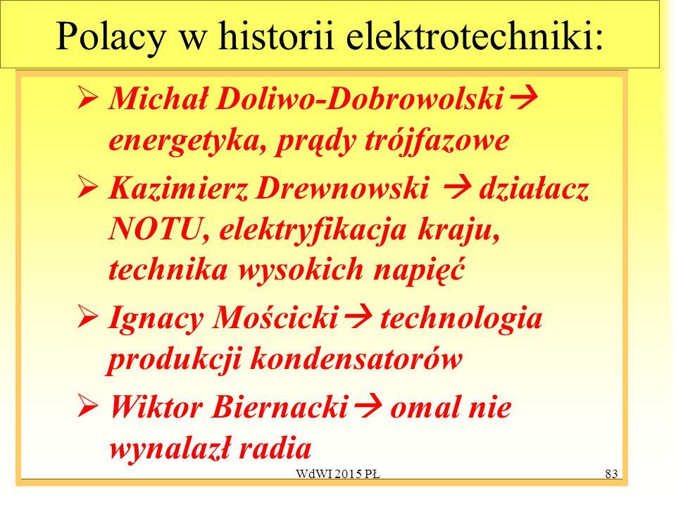 83 Polacy w historii elektrotechniki:  Michał Doliwo-Dobrowolski  energetyka, prądy trójfazowe  Kazimierz Drewnowski  działacz NOTU, elektryfikacj