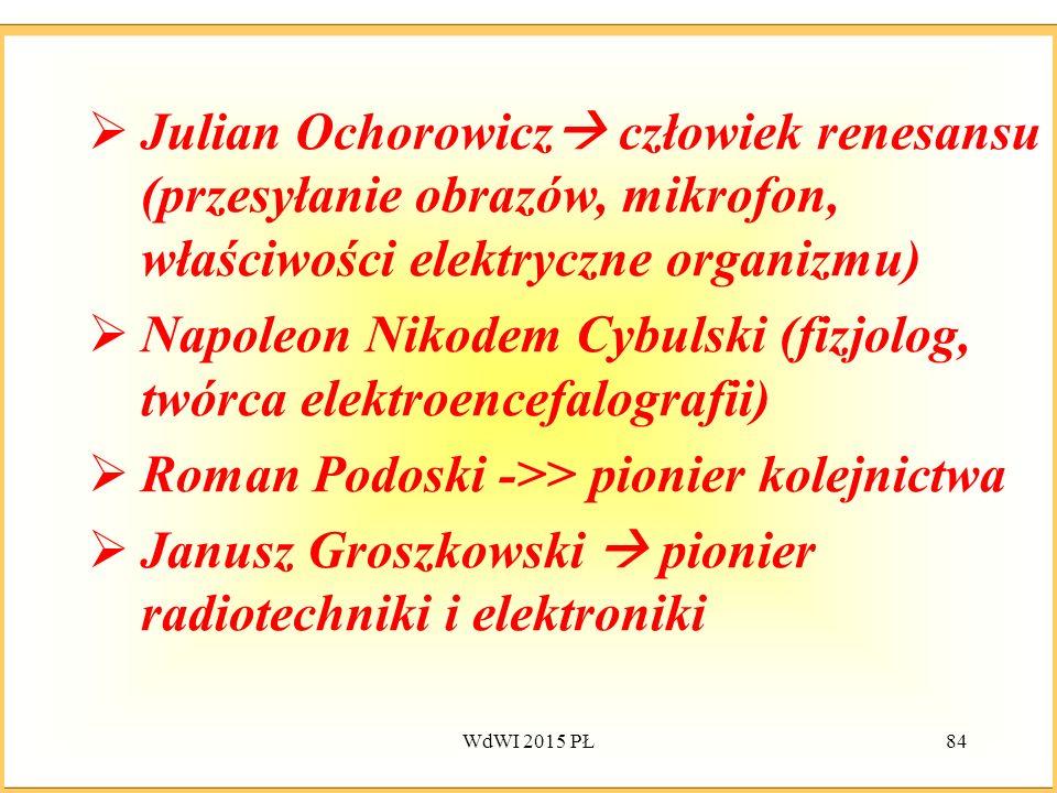  Julian Ochorowicz  człowiek renesansu (przesyłanie obrazów, mikrofon, właściwości elektryczne organizmu)  Napoleon Nikodem Cybulski (fizjolog, twó
