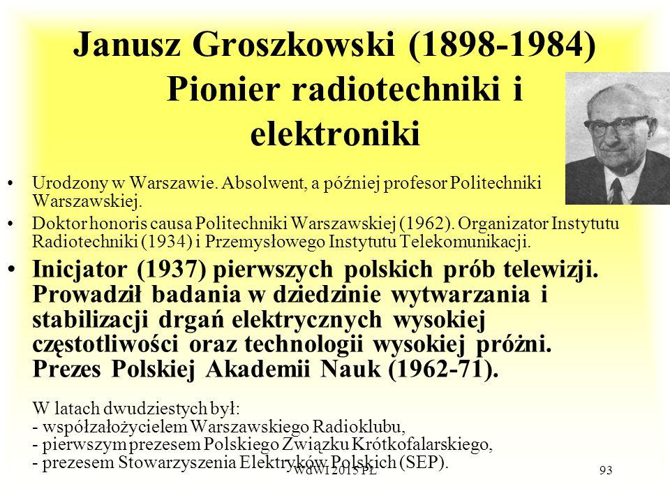 Janusz Groszkowski (1898-1984) Pionier radiotechniki i elektroniki Urodzony w Warszawie. Absolwent, a później profesor Politechniki Warszawskiej. Dokt