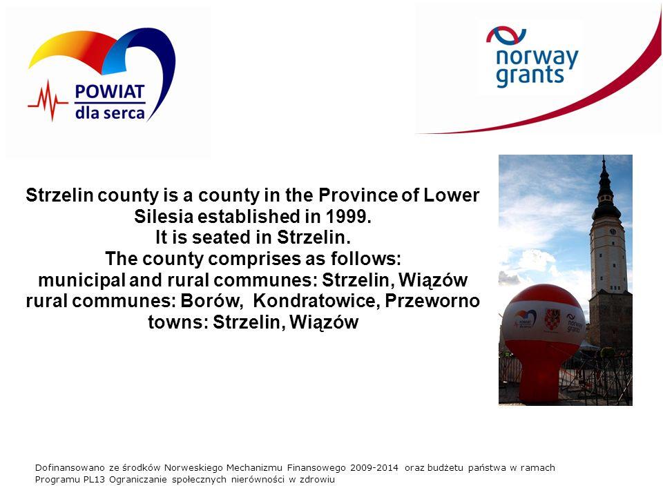 Dofinansowano ze środków Norweskiego Mechanizmu Finansowego 2009-2014 oraz budżetu państwa w ramach Programu PL13 Ograniczanie społecznych nierówności w zdrowiu Strzelin county is a county in the Province of Lower Silesia established in 1999.