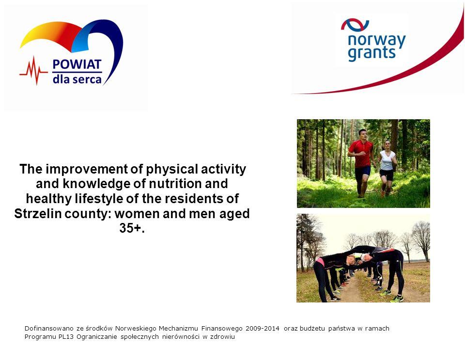 Dofinansowano ze środków Norweskiego Mechanizmu Finansowego 2009-2014 oraz budżetu państwa w ramach Programu PL13 Ograniczanie społecznych nierówności w zdrowiu The improvement of physical activity and knowledge of nutrition and healthy lifestyle of the residents of Strzelin county: women and men aged 35+.