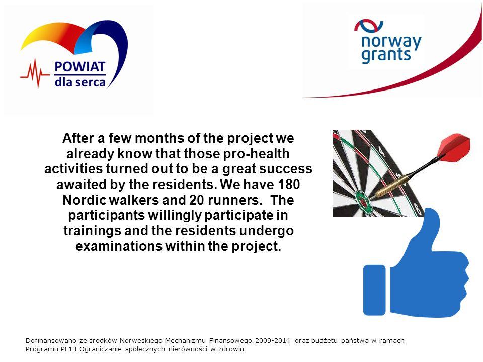 Dofinansowano ze środków Norweskiego Mechanizmu Finansowego 2009-2014 oraz budżetu państwa w ramach Programu PL13 Ograniczanie społecznych nierówności w zdrowiu After a few months of the project we already know that those pro-health activities turned out to be a great success awaited by the residents.