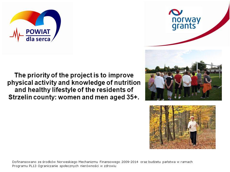 Dofinansowano ze środków Norweskiego Mechanizmu Finansowego 2009-2014 oraz budżetu państwa w ramach Programu PL13 Ograniczanie społecznych nierówności w zdrowiu The priority of the project is to improve physical activity and knowledge of nutrition and healthy lifestyle of the residents of Strzelin county: women and men aged 35+.