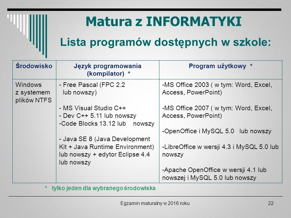 Matura z INFORMATYKI Lista programów dostępnych w szkole: ŚrodowiskoJęzyk programowania (kompilator) * Program użytkowy * Windows z systemem plików NT