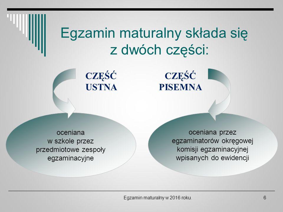 DZIĘKUJĘ ZA UWAGĘ Egzamin maturalny w 2016 roku.47