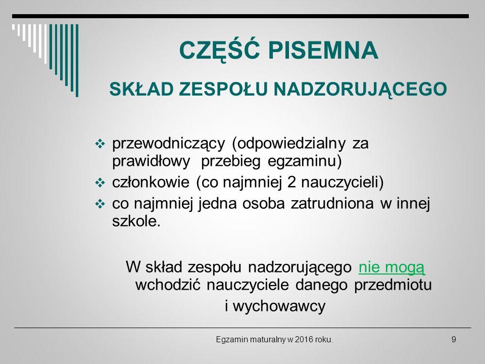 DEKLARACJE ZDAJĄCYCH Deklaracje należy wypełnić korzystając z witryny internetowej: http://maturzysta.vulcan.pl Egzamin maturalny w 2016 roku.30