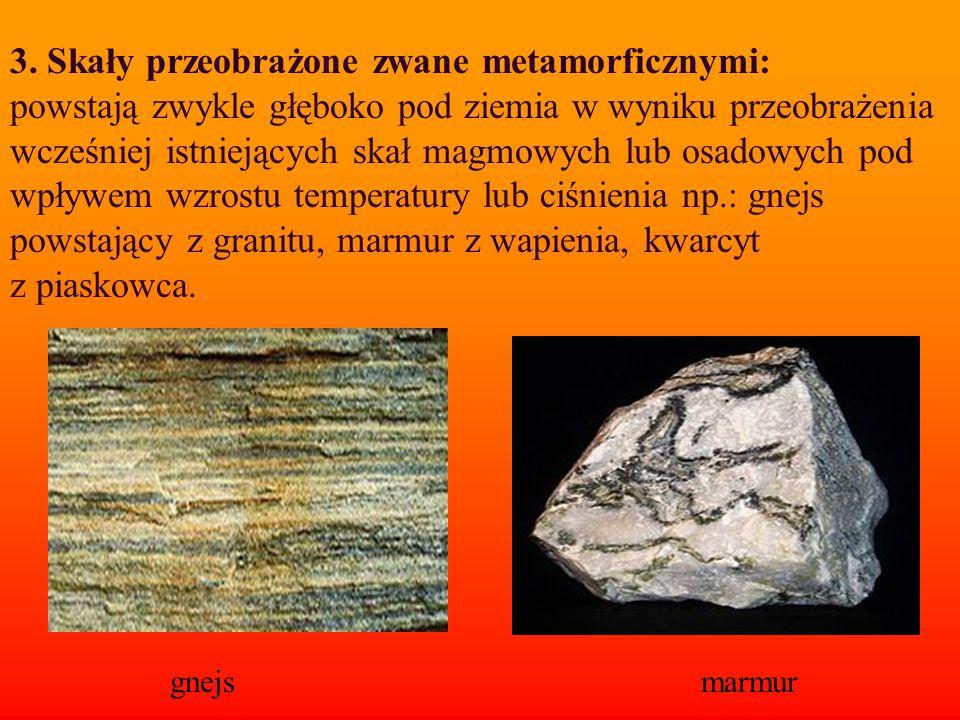 3. Skały przeobrażone zwane metamorficznymi: powstają zwykle głęboko pod ziemia w wyniku przeobrażenia wcześniej istniejących skał magmowych lub osado