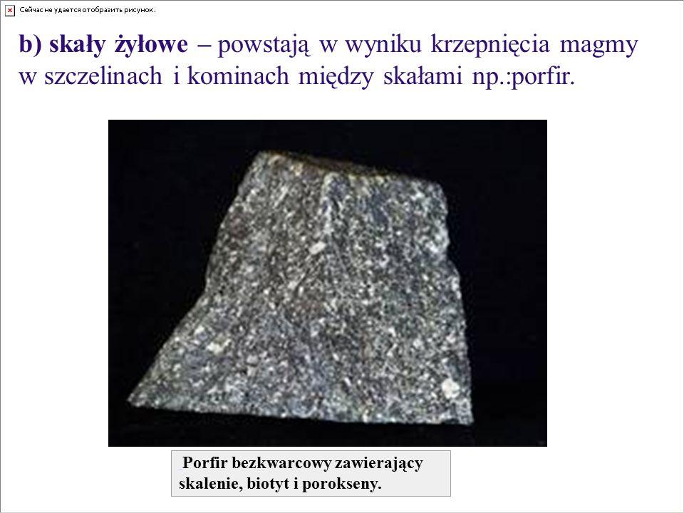 b) skały żyłowe – powstają w wyniku krzepnięcia magmy w szczelinach i kominach między skałami np.:porfir. Porfir bezkwarcowy zawierający skalenie, bio
