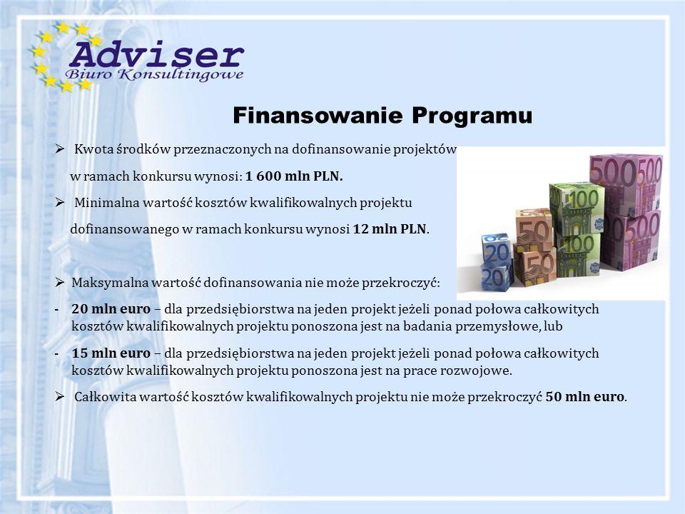 Finansowanie Programu  Kwota środków przeznaczonych na dofinansowanie projektów w ramach konkursu wynosi: 1 600 mln PLN.