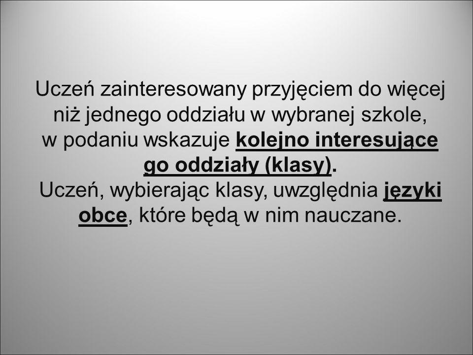 Bierze się pod uwagę sposób przeliczania na punkty ocen z przedmiotów i innych osiągnięć kandydatów odnotowanych na świadectwie ukończenia gimnazjum, przyjęty na terenie województwa wielkopolskiego.