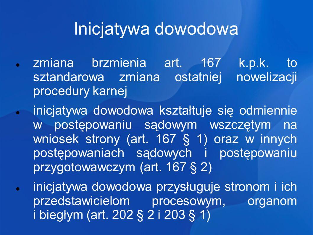 Inicjatywa dowodowa zmiana brzmienia art.167 k.p.k.