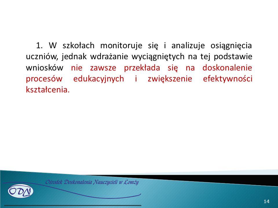 14 1. W szkołach monitoruje się i analizuje osiągnięcia uczniów, jednak wdrażanie wyciągniętych na tej podstawie wniosków nie zawsze przekłada się na