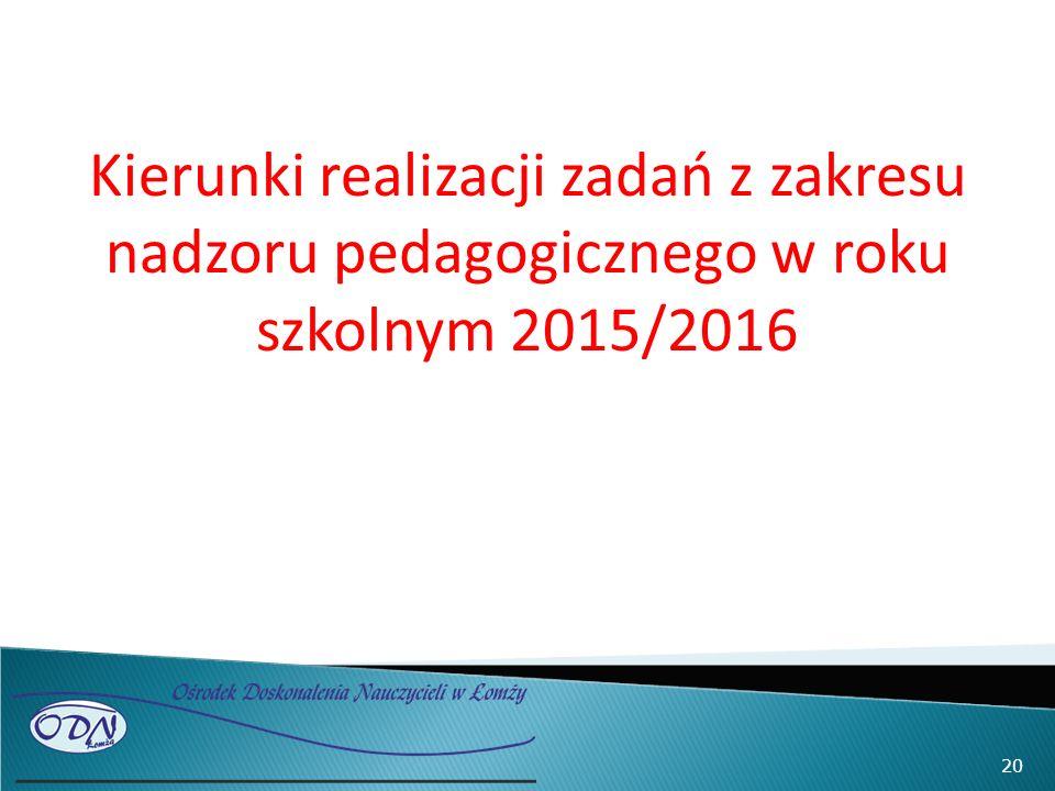 Kierunki realizacji zadań z zakresu nadzoru pedagogicznego w roku szkolnym 2015/2016 20
