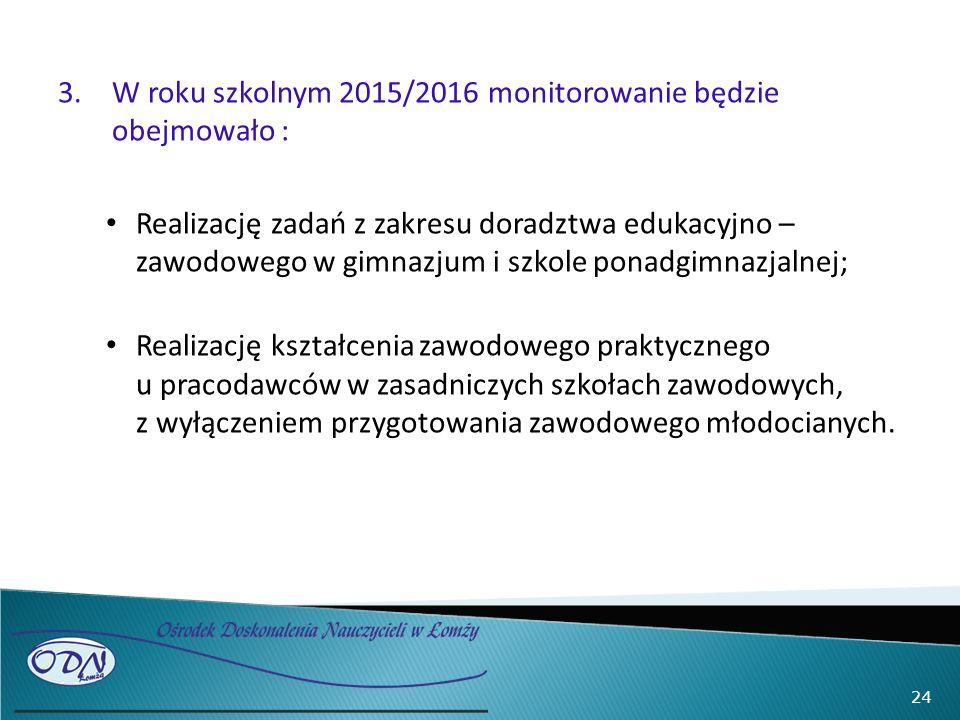3.W roku szkolnym 2015/2016 monitorowanie będzie obejmowało : Realizację zadań z zakresu doradztwa edukacyjno – zawodowego w gimnazjum i szkole ponadgimnazjalnej; Realizację kształcenia zawodowego praktycznego u pracodawców w zasadniczych szkołach zawodowych, z wyłączeniem przygotowania zawodowego młodocianych.