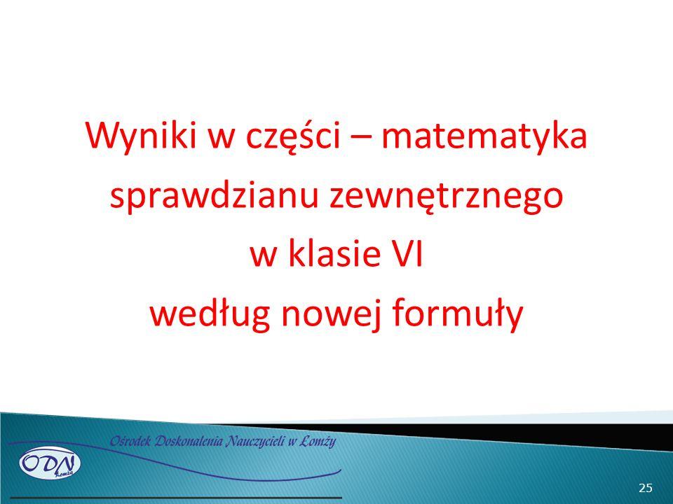Wyniki w części – matematyka sprawdzianu zewnętrznego w klasie VI według nowej formuły 25