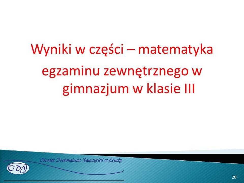 Wyniki w części – matematyka egzaminu zewnętrznego w gimnazjum w klasie III 28