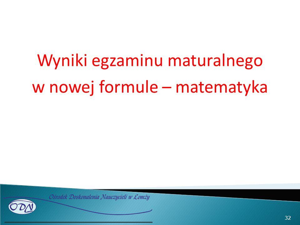 Wyniki egzaminu maturalnego w nowej formule – matematyka 32