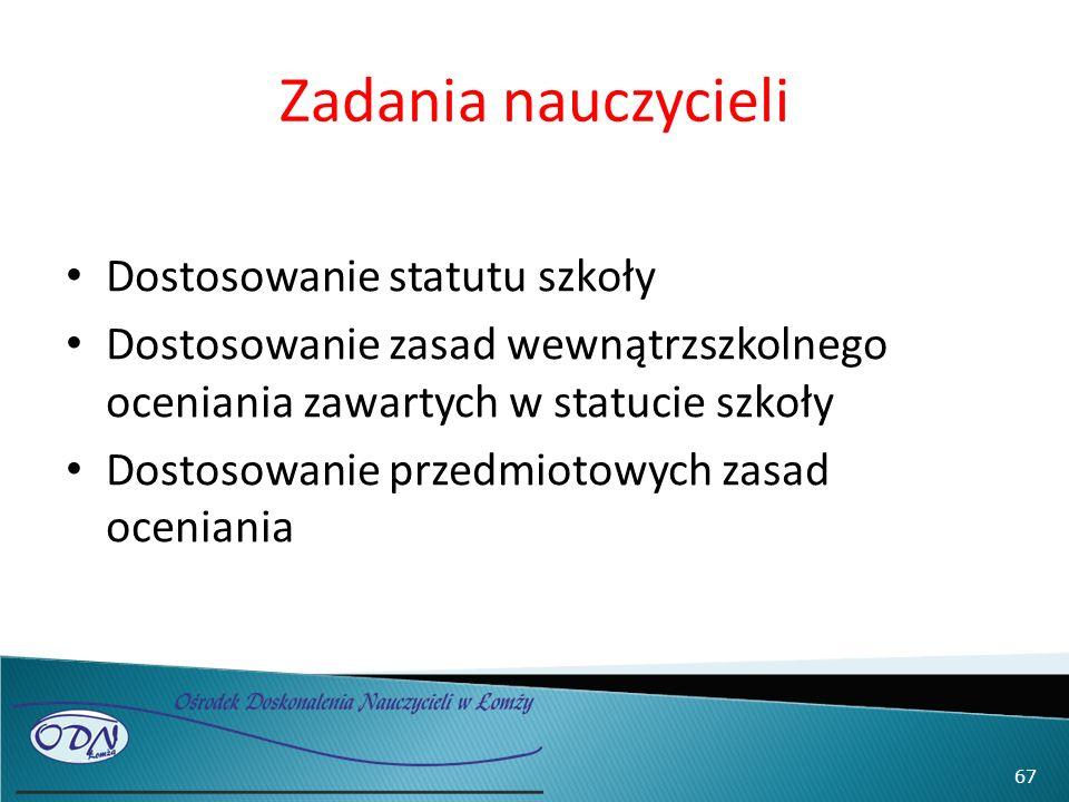 Zadania nauczycieli Dostosowanie statutu szkoły Dostosowanie zasad wewnątrzszkolnego oceniania zawartych w statucie szkoły Dostosowanie przedmiotowych zasad oceniania 67
