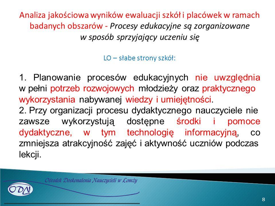 8 Analiza jakościowa wyników ewaluacji szkół i placówek w ramach badanych obszarów - Procesy edukacyjne są zorganizowane w sposób sprzyjający uczeniu się LO – słabe strony szkół: 1.